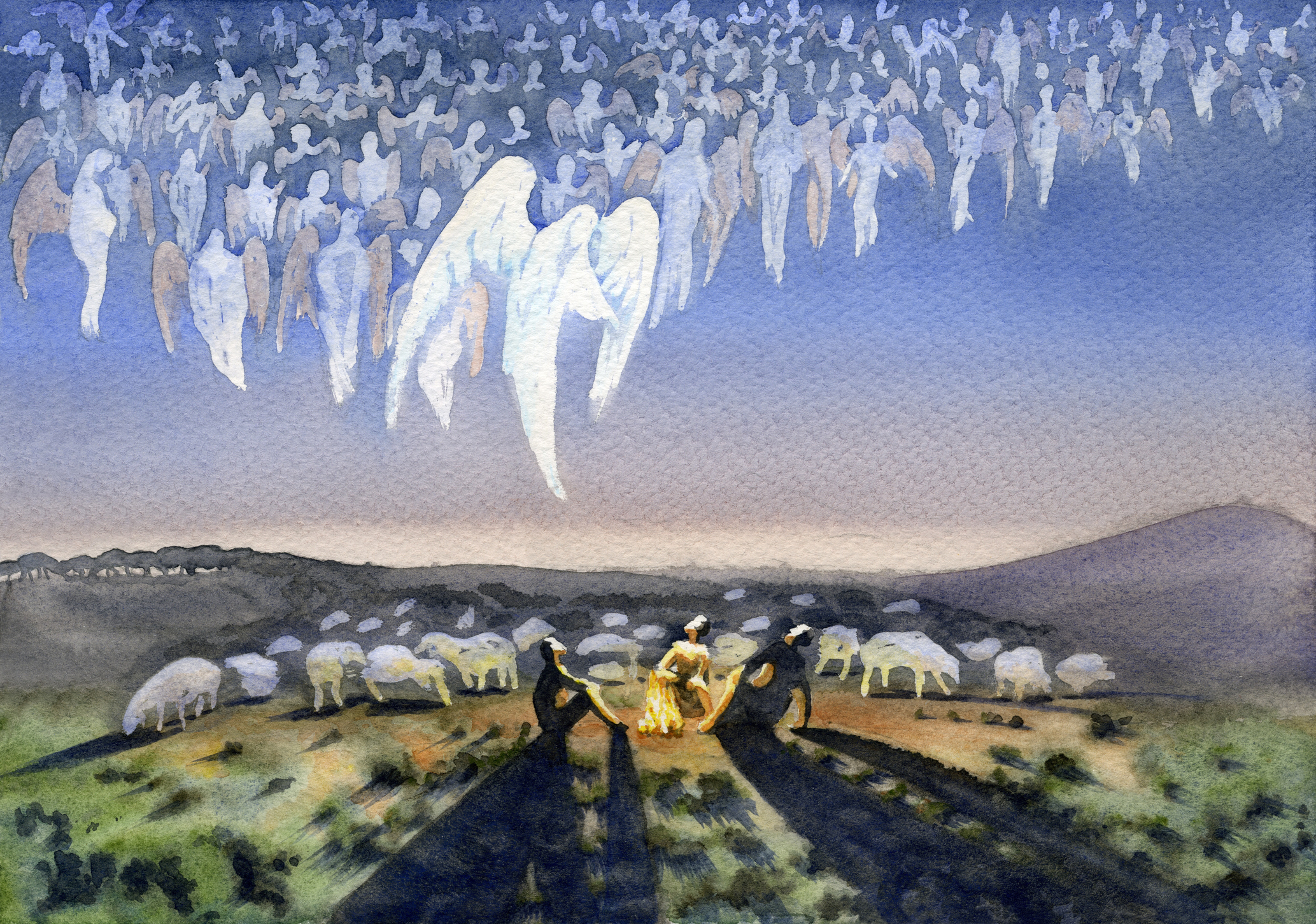Illustration of the angels appearing to the shepherds, which is the key passage for our sermon.
